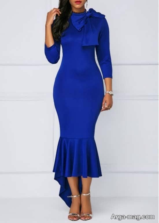 Blue dress 13 - انواع لباس مجلسی آبی رنگ برای خانم های شیک پوش