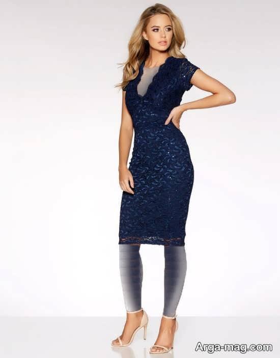 Blue dress 19 - انواع لباس مجلسی آبی رنگ برای خانم های شیک پوش