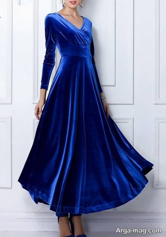 Blue dress 5 - انواع لباس مجلسی آبی رنگ برای خانم های شیک پوش