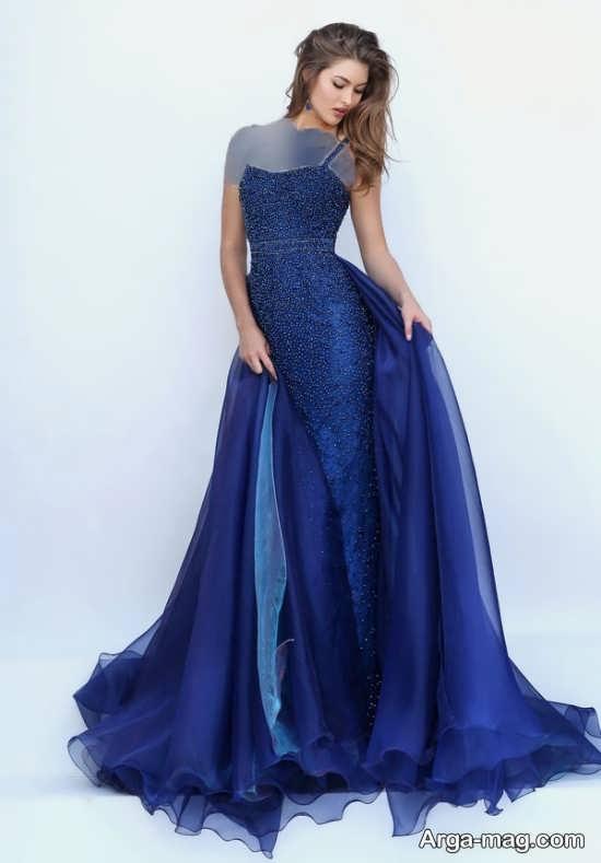Blue dress 6 - انواع لباس مجلسی آبی رنگ برای خانم های شیک پوش