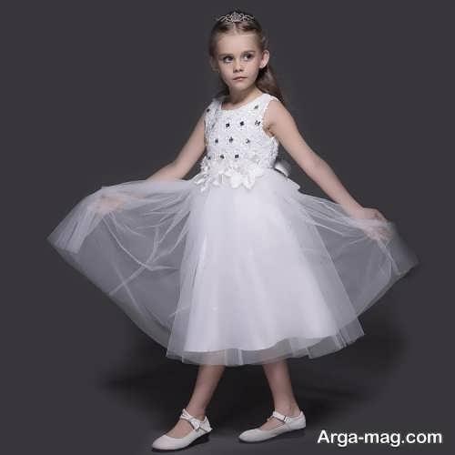 مدل لباس عروس بچه گانه پرنسسی کار شده با تور