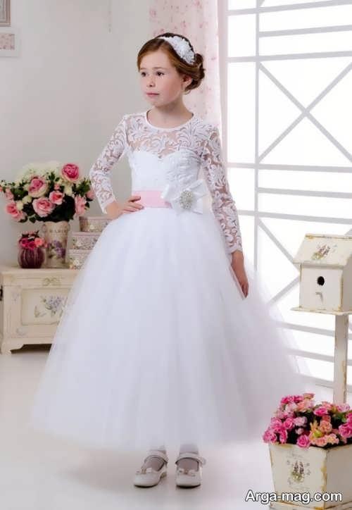 مدل لباس عروس بچه گانه کار شده با گیپور