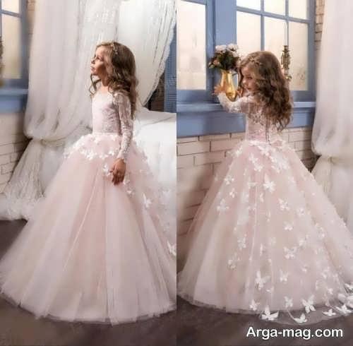 مدل لباس عروس بچه گانه گلدار