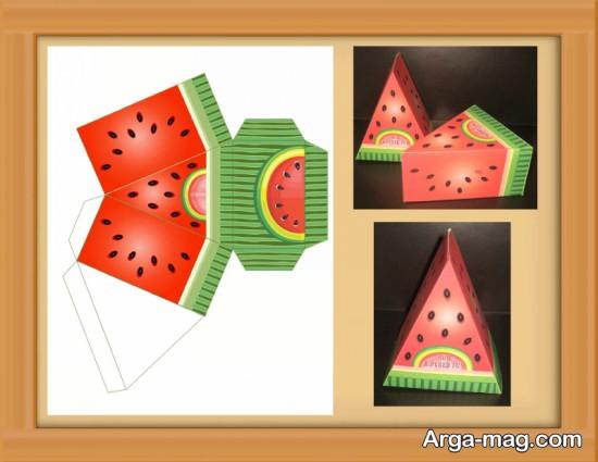 کاردستی هندوانه کاغذی برای شب یلدا