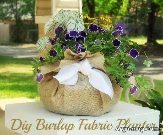 ساخت گلدان زیبا با گونی