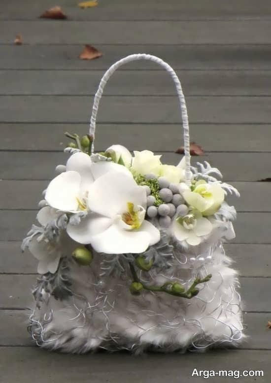 تزیین کیف با گل طبیعی