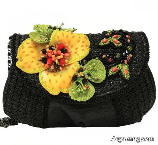 طراحی کیف با گل برجسته