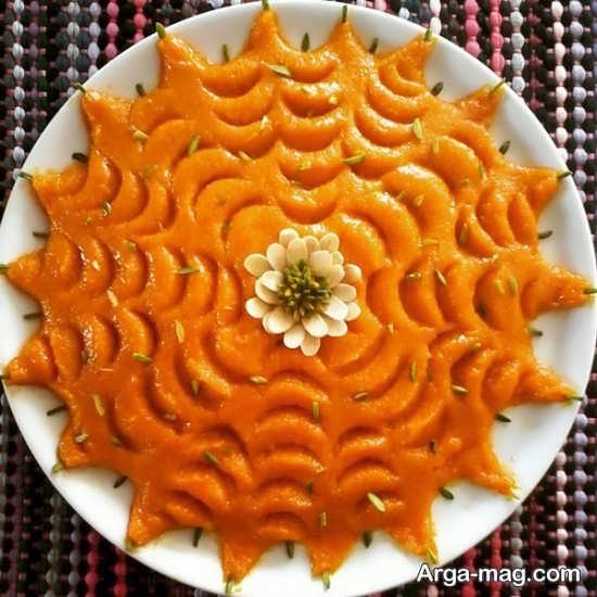 تزیین حلوای هویج با قاشق