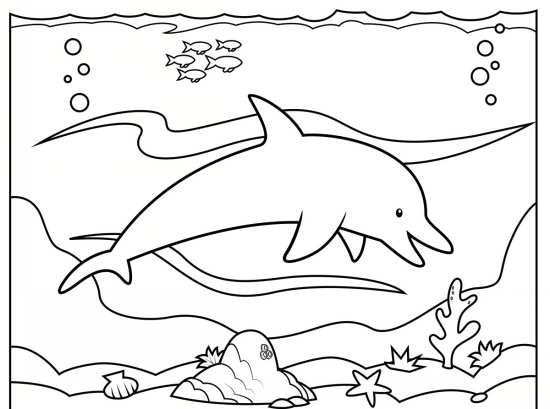نقاشی دلفین برای رنگ آمیزی بچه ها