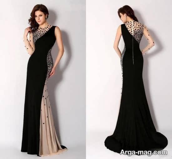 مدل لباس شب دو رنگ