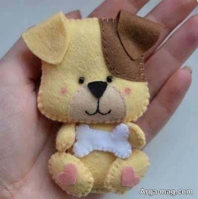 عروسک سگ نمدی زیبا