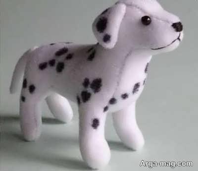 عروسک سگ نمدی خالدار