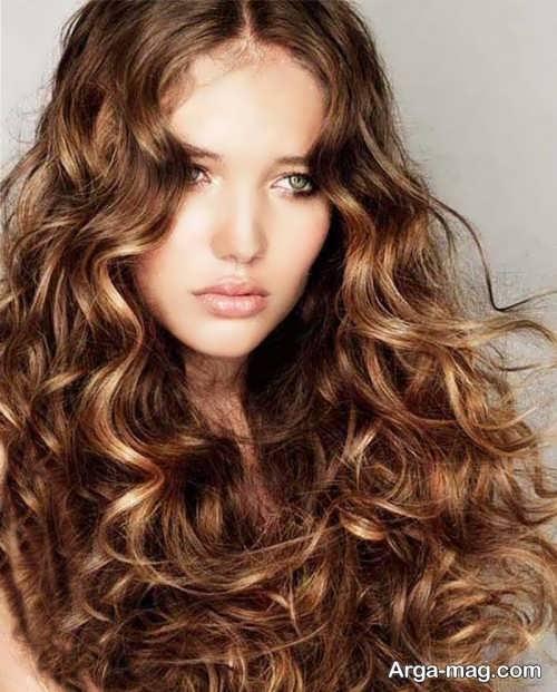 رنگ موی قهوه ای با هایلایت