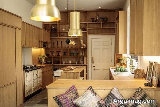 طراحی لاکچری آشپزخانه 20187 با تم طلایی