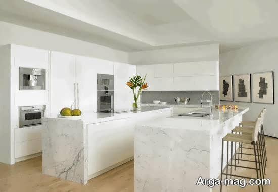 طراحی آشپزخانه با سنگ مرمر