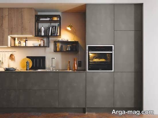 طراحی آشپزخانه با فلزات سنگین و بتن