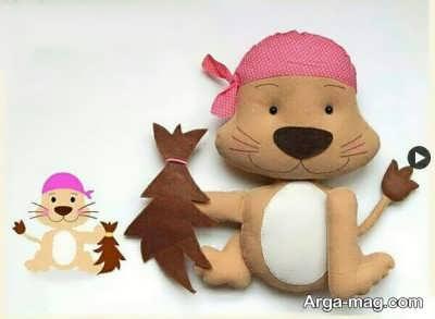 ساخت عروسک زیبا سگ نمدی با الگو