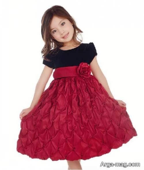 مدل لباس مجلسی بچه گانه دخترانه قرمز و مشکی