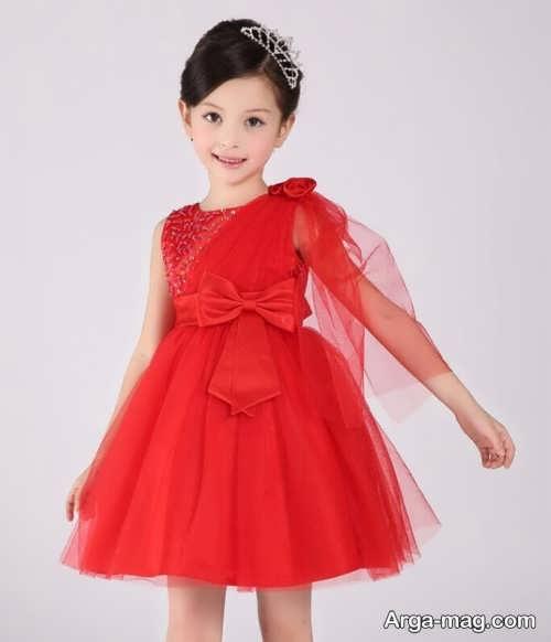 مدل لباس مجلسی بچه گانه دخترانه کار شده با تور