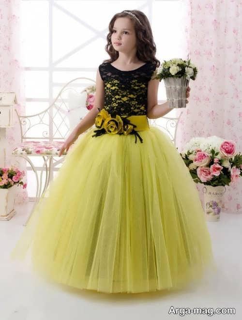 مدل لباس پرنسسی مشکی و زرد بچه گانه