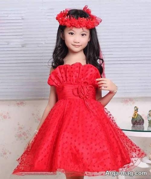 مدل لباس مجلسی قرمز بچه گانه