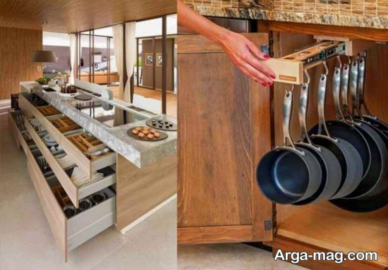 دکوراسیون آشپزخانه های مدرن باقفسه