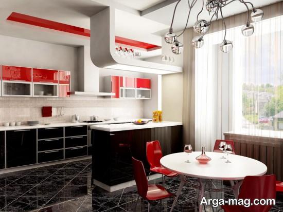 آشپزخانه با لوستر زیبا