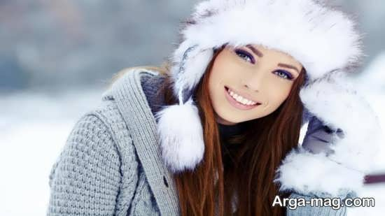ژست عکس در برف برای دختر خانم ها