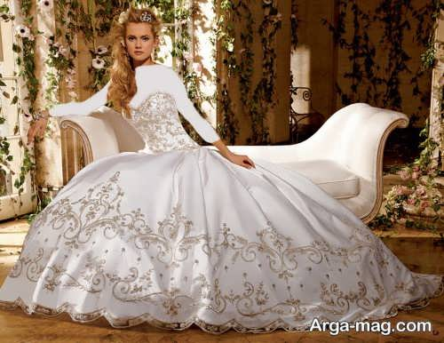 مدل لباس عروس کار شده پرنسسی