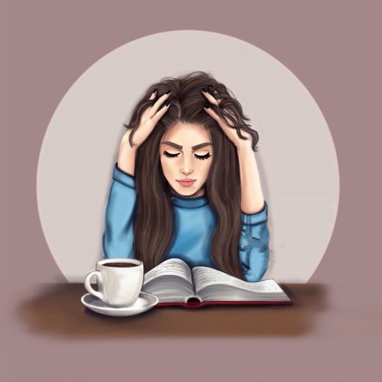 پروفایل دختر در حال مطالعه