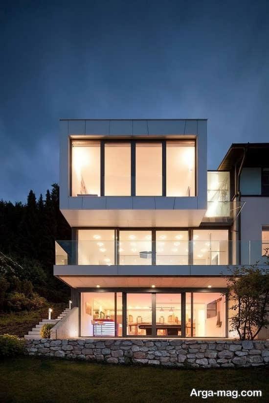 طراحی نمای ساختمان با شیشه و سنگ