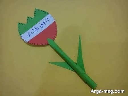 کاردستی گل با طرح پرچم