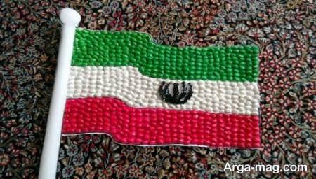 کاردستی زیبای پرچم ایران به شکل برجسته