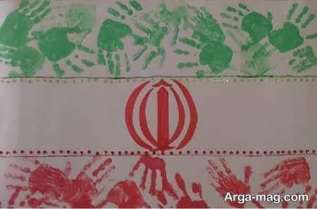 کاردستی پرچم با رنگ امیزی