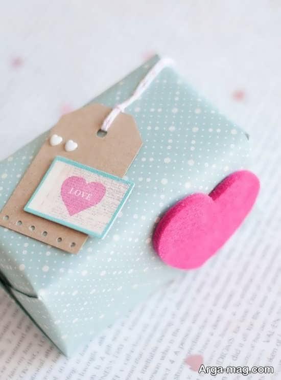تزیین هدیه ولنتاین با طرح قلب