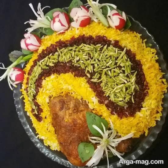 تزیین برنج به شکل بته جقه