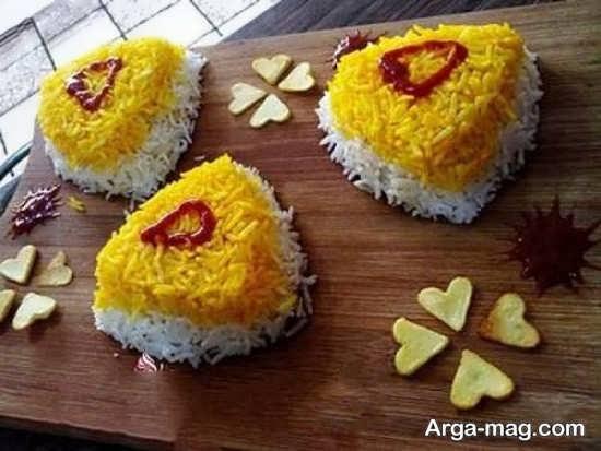 تزیین برنج دو رنگ