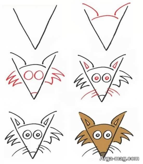 آموزش نقاشی سر روباه با عدد 7