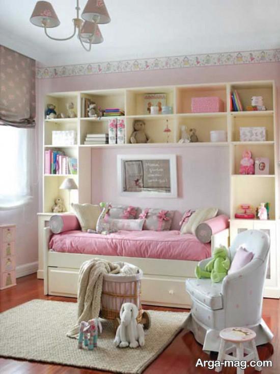 طراحی دکوراسیون اتاق دخترانه کوچک