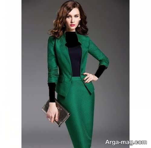 مدل کت و دامن سبز و بلند
