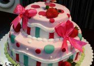 کیک زیبا با تم تولد توت فرنگی