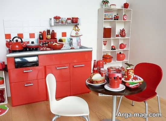 دکوراسیون آشپزخانه عروس با تم قرمز