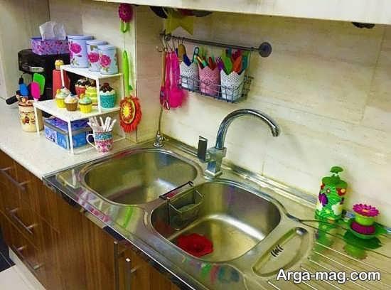 تزیین سینک آشپزخانه عروس
