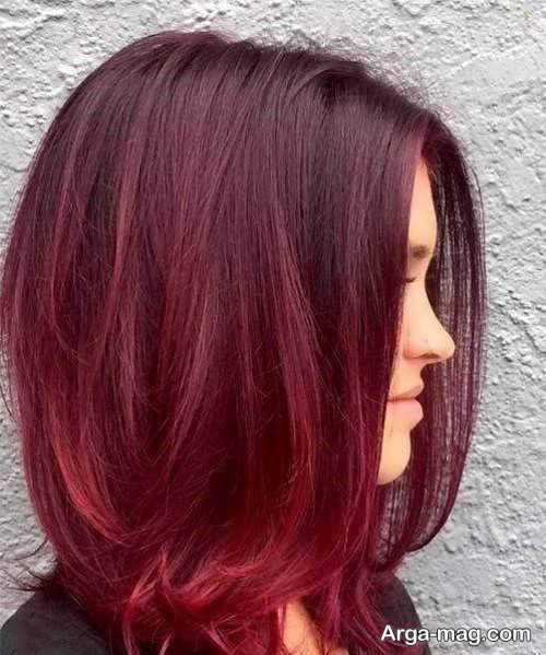 رنگ موی شرابی روشن بدون دکلره