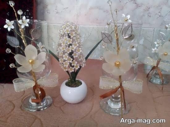 تزیین ظروف هفت سین با گل کریستال