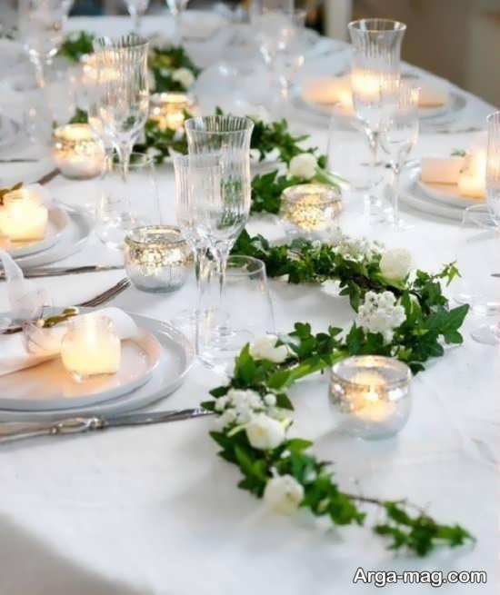 تزیین میز شام جدید با گل