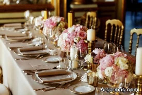 تصاویر دیزاین میز شام با گل