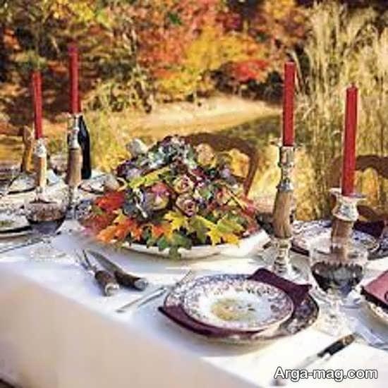 تزیین میز شام شیک با گل