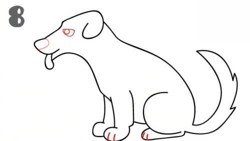 کشیدن نقاشی سگ در چند مرحله