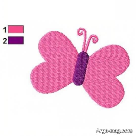 گلدوزی با طرح پروانه